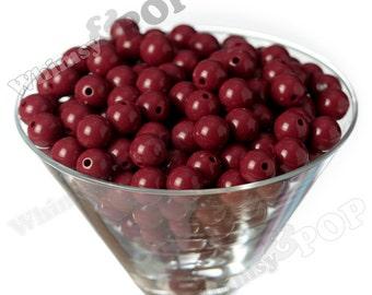 12mm - Burgundy Maroon Dark Red Gumball Beads, 12mm Gumball Beads, 12mm Beads, Small Gumball Beads, Opaque Acrylic Round Beads, 2mm Hole