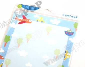 """1 - Package, 40 Sheets Airplane Boat Car Stationery for Scrapbooking and Papercrafting , 8.5"""" x 11"""""""