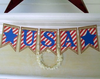 USA Banner, 4th of July Party Banner, Patriotic Banner