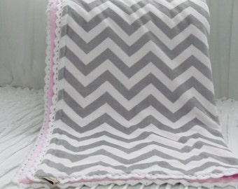 "Minky baby blanket-30"" x 36""- grey and pink minky blanket- girl minky blanket- grey chevron minky blanket- minky baby blanket for girl-"