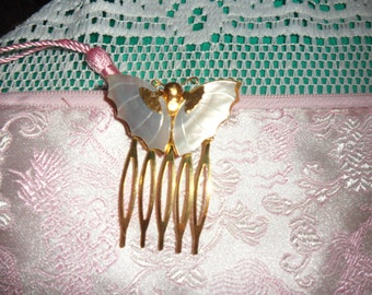 Authentic Vintage Mother Of Pearl Butterfly Gold Hair Comb
