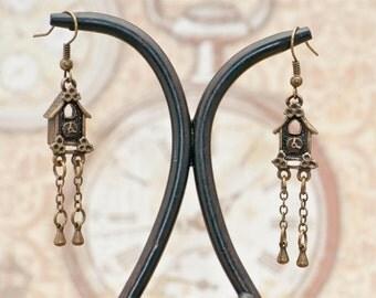 Vintage Victorian Steampunk Antiqued Brass German Cuckoo Clock Earrings