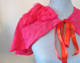 SALE Hot Pink Bridal Capelet, Shrug, Hot Pink Bridal Shrug, Bridal CoverUp, Valentine, Pink Lace Capelet, Custom Ribbon Color  SERENADE