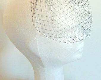 ladies black birdcage veil/ black wedding veil rhinestones / short black bridal veil/ netted veil/ veil black birdcage/ black veil crystals