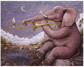 "Elephant on Trombone print 8"" x 10"""