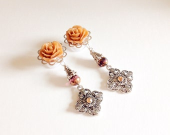 "000g Beaded Dangle Plugs 1/2 inch Gauges Rose Plugs 9/16"" (14mm) or 1/2"" (12mm) Ear Gauges 7/16"" 11mm"