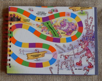 Recycled Candy Land guest book, notebook or scrapbook, large sized board game book with card stock pages