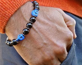 Men's Rocker Bracelet with Cobalt Howlite Carved Skulls, Jet Glass, Gunmetal Rondelles and Bali Bead - Ghost - Steampunk Men's Bracelet