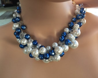 Clustered Pearl necklace with white and royal blue pearls- chunky Pearl- bridesmaid necklace