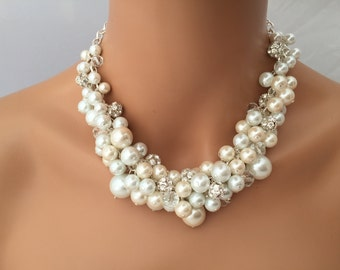 Chunky ivory and white pearl necklace with rhinestones and crystal accents