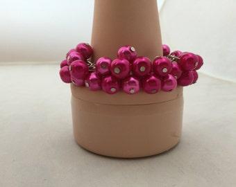 Fuchsia pearl bracelet - bridesmaid  jewelry - wedding jewelry