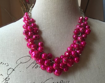 Hot Pink fuchsia Cluster Necklace, Chunky Necklace, Hot Pink bridal Jewelry, Hot Pink jewelry,,Pink Bridesmaid Necklace, Pink Pearl Necklace