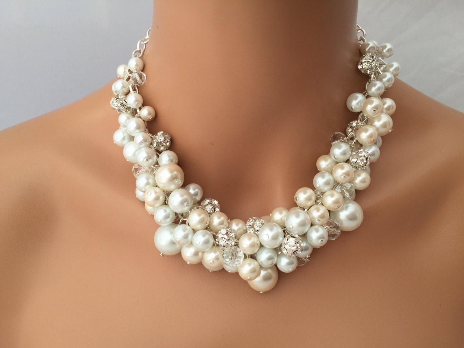Chunky Ivory And White Pearl Necklace With Rhinestones And