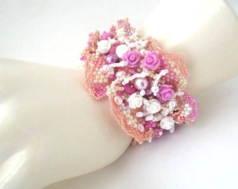 Romantic Beaded bracelet, Seed bead bracelet, Freeform peyote bracelet, Womens jewelry, Unique Handmade gifts