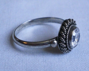 Sterling Silver Clear Stone Ring-Size 6 5/8