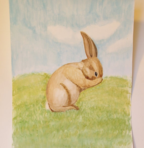 Original watercolor painting of a bunny rabbit, Perfect as nursery art, Nature inspired, 11.4 x 8.3""