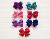 Sequin Hair Bows Glitter Hair Bow Sparkly Hair bow Girls Hair Bow Girls Accessories Baby Toddlers Girls Hair Bows Pink Purple Lavender Blue
