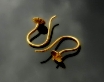 Ear Hooks Earwires Gold Vermeil over Sterling Silver with Peg Bail for Half Drilled Pearls and Beads