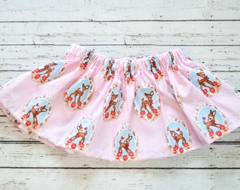 Baby Girl Retro Pink Deer Circle Skirt
