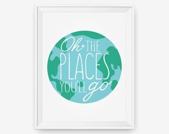 Oh The Places You'll Go - Dr. Seuss inspired - Nursery Decor, Children Wall Art. Playroom Decor