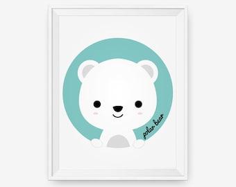 Polar Bear Animal for Nursery Art, Baby Cute Arctic Animal Wall Art, Children Decor Animal For Kids Rooms