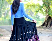Peacock Skirt Black Floral Skirt Fall Party Women Skirt Gifts Idea Cotton A Line Ladies
