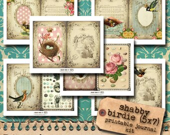 Shabby Birdie Printable Journal Kit - NEW SIZE