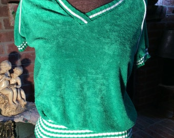 Cute green terrycloth sporty v-neck--women large..white striped