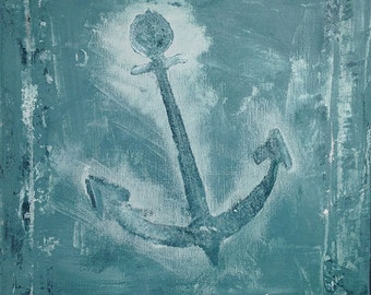 """ANCHOR, Original Painting, 12""""x12"""" Canvas, Acrylic Painting, Wall Art, Distressed Anchor Art, Modern Paintings, Anchor Wall Art, Home Decor"""