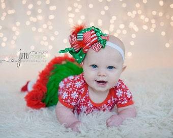 Christmas hair bow, christmas headband, baby christmas hair clip, girls OTT christmas bow, Christmas headband, toddler headband, baby clip