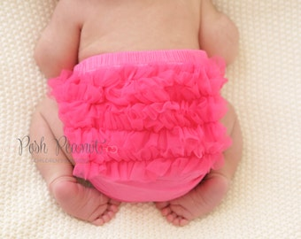 Girls Diaper Cover - Ruffle Baby Diaper Cover - Newborn diaper cover-  Infant Bloomers- hot pink diaper cover- pink bloomers- girls bloomers