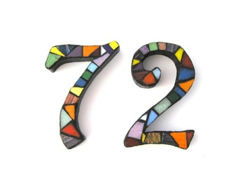 """Mosaic Numbers Set of Two 5"""" Numbers, House Numbers, address numbers, 5 inch numbers, mailbox numbers"""