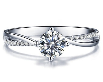 Twisted Round Cut Diamond Engagement Ring 14k White Gold or Yellow Gold Diamond Ring