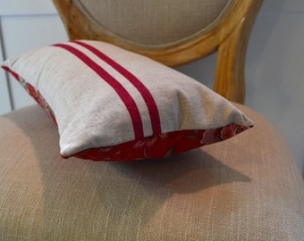 Linen Lumbar Striped Pillow Cover With Red Floral Accent Panel---In Stock Ready To Ship