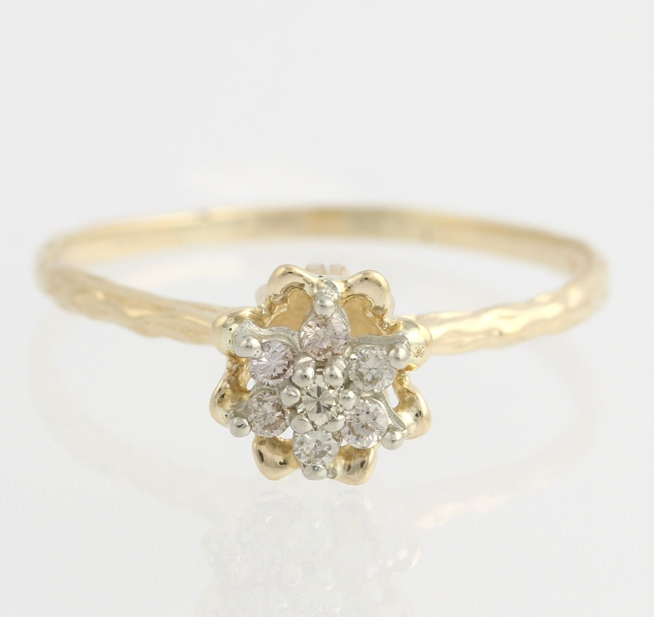 chagne promise ring 14k yellow gold band flower