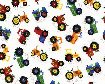 Mini Tractors from Timeless Treasures - end of bolt - 3/4 yd