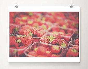 strawberry photograph strawberry print food photography kitchen wall art farmers market photograph fruit photograph fruit print