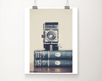 vintage camera photograph book photograph still life photograph mark twain print retro camera print kodak camera print