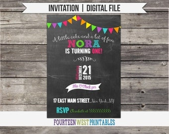 ON SALE!  Chalkboard Birthday Invitation (Printable Digital File)