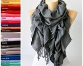 Scarf ,Ruffle scarf  ,Pashmina ruffle scarf ,long scarf, in dark grey  - CHOOSE YOUR COLOR