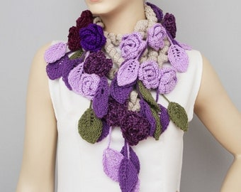 crochet scarf  crochet  lariat ,flower  crochet scarf, purple, lilacs ,unique