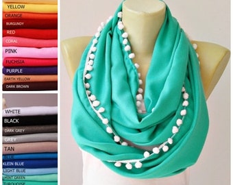 Infinity scarf with pompom trim  ,Loop scarf ,soft pashmina scarf ,CHOOSE YOUR COLOR ,Aqua ,turquoise,cyan