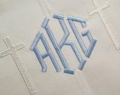 Long Double Cross Boys White Pique Monogrammed  Solid White Longall Romper Jon Jon Baptism Cross