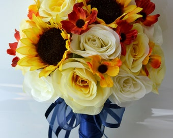 """17 Piece Package Silk Flower Wedding Decoration Bridal Bouquet Sunflower YELLOW ROYAL BLUE Ivory Fall """"Lily Of Angeles"""" BLYE03"""