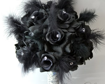 """Silk Flower Wedding Bouquet 17 Piece Package Bridal Bride Maid Of Honor Bridesmaid Boutonniere Corsage BLACK WHITE """"Lily Of Angeles"""" BKBK01"""