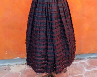 SALE Stunning Vintage 1950s Black + Burgundy Lace Entirely Tiered Ruffled Full Skirt.