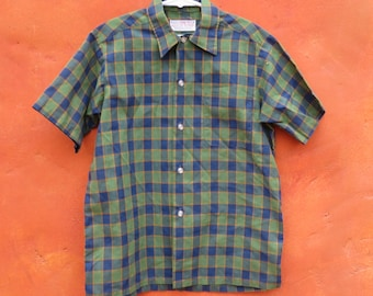 Vintage 1950s 1960s Boy's Blue Green Gold Plaid Short Sleeve Button Down Shirt. Size 10 12. Sears Perma-Prest