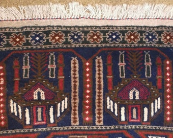 """Vintage, Hand Knotted, PRAYER RUG  from Afghanistan with Mosques and Pillars of Faith 2'9""""x4'10"""""""