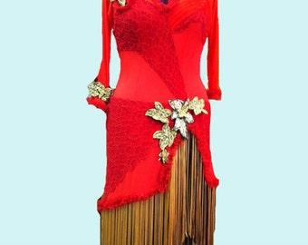 Red Tango  Dress Red  Bolero Dance  Dress Red Latin Dress Dance dress