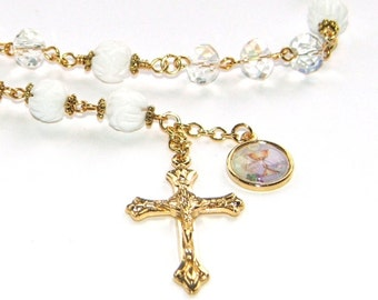 First Holy Communion Chaplet, Traditional Layout in Crystal & Carved White Coral Beads